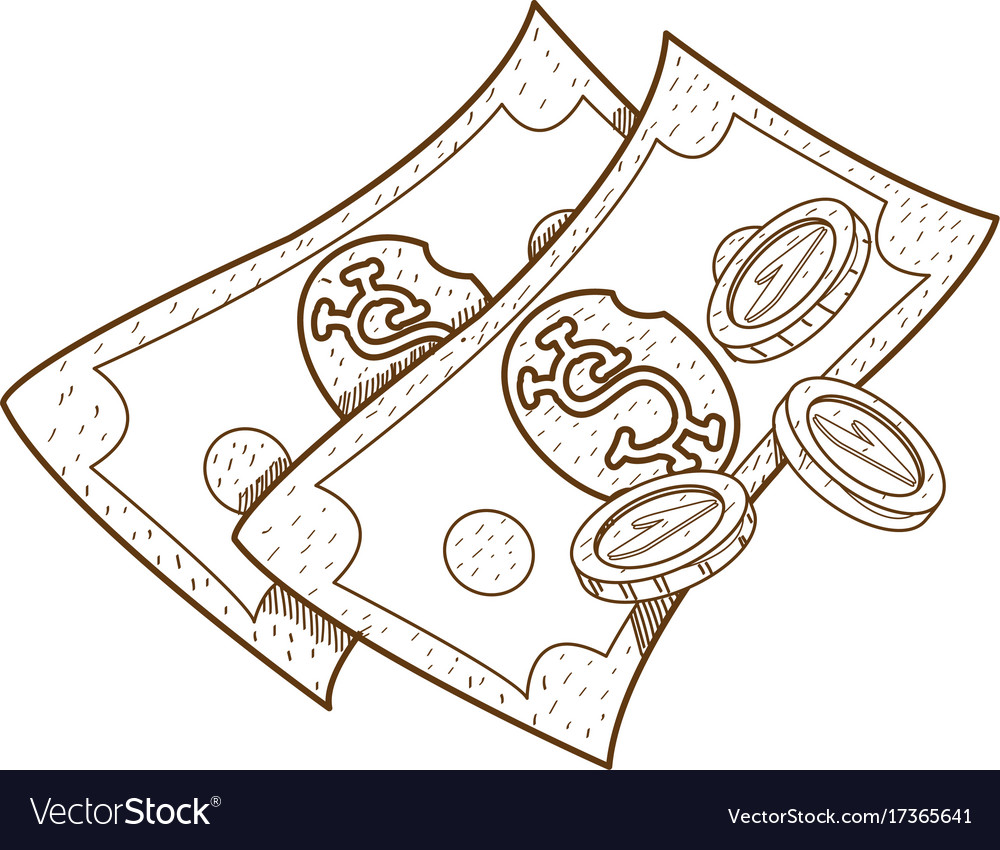 money outline drawing for coloring green paper vector image. Black Bedroom Furniture Sets. Home Design Ideas