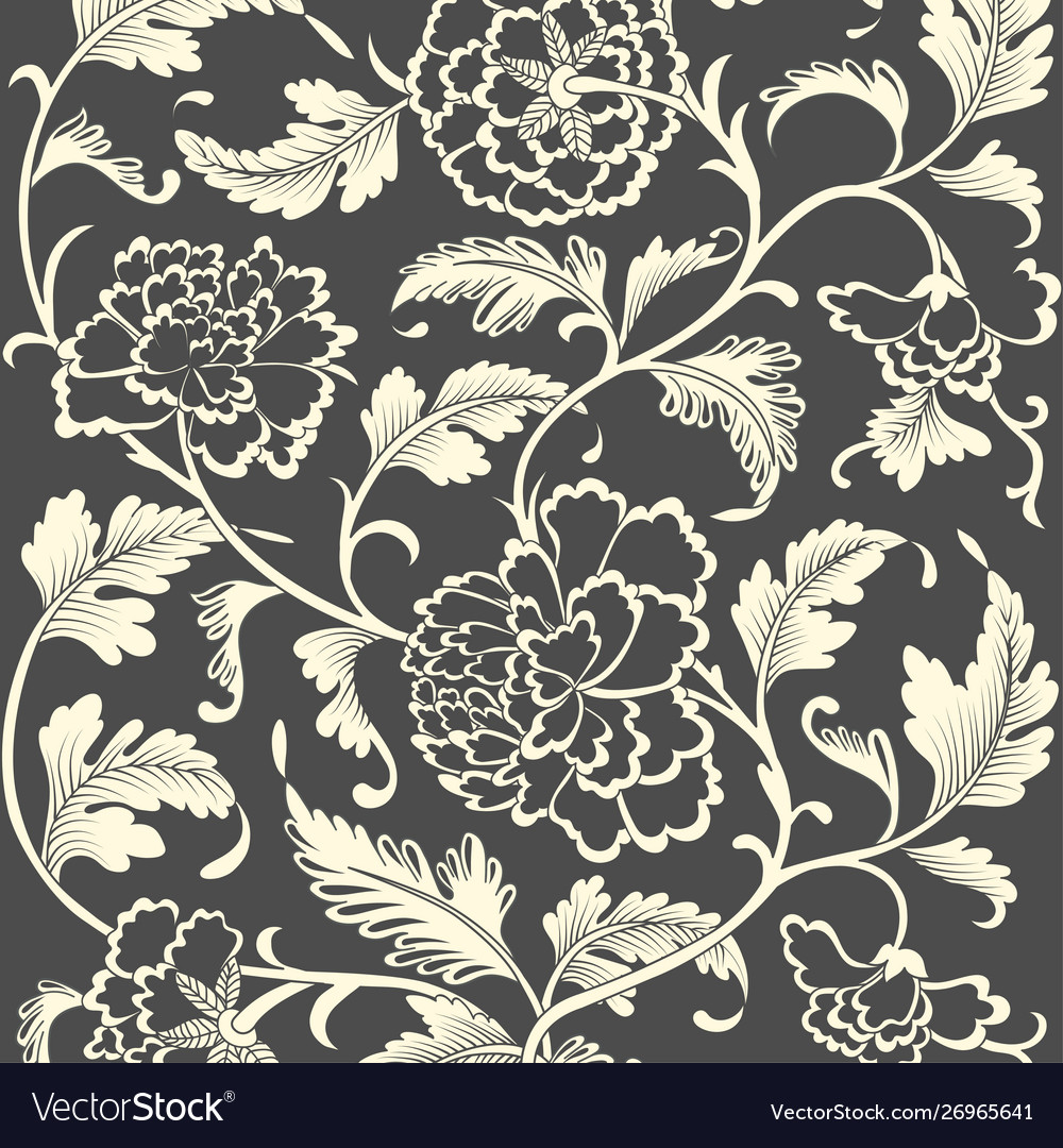Ornamental colored antique floral pattern