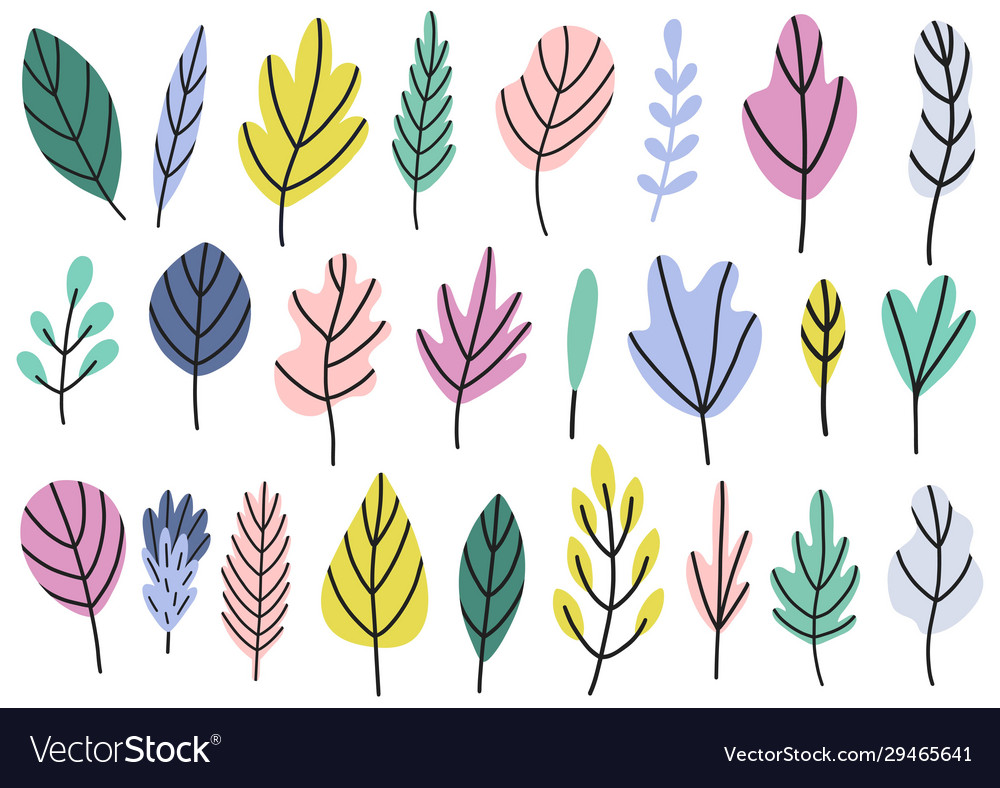 Plants and leaves in bright colors collection