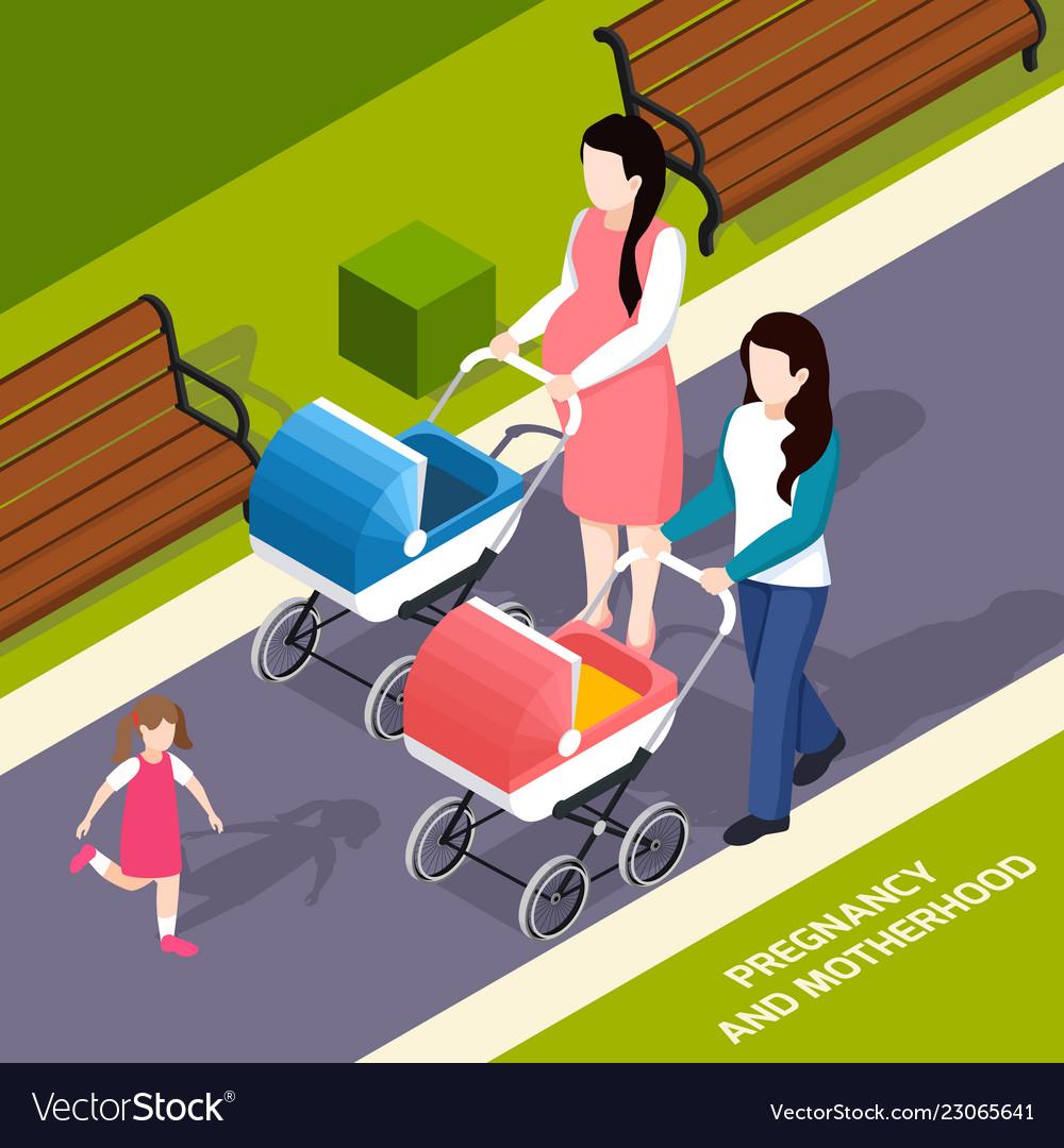 Pregnancy and motherhood isometric composition