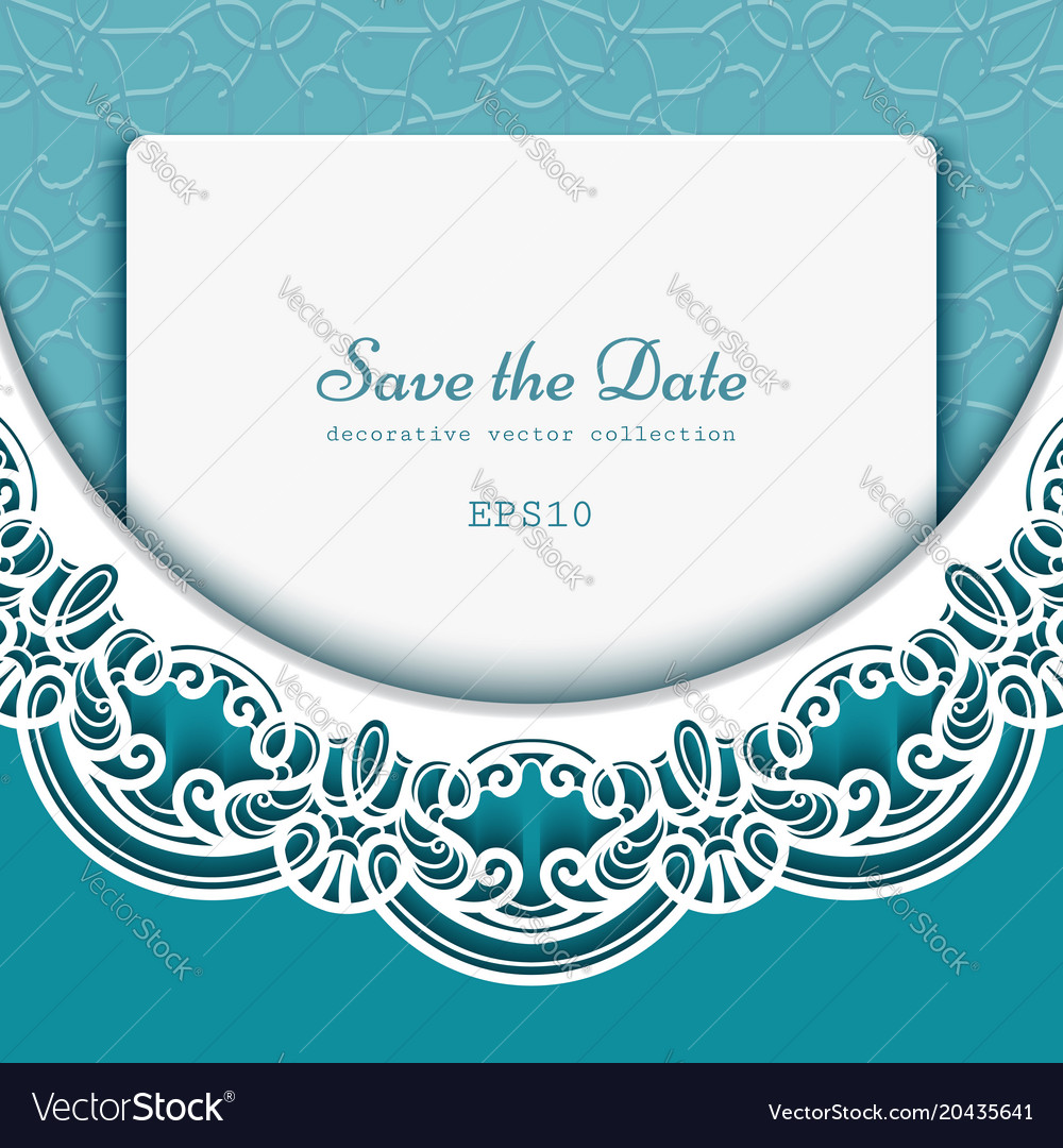 Save the date card with lace border pattern