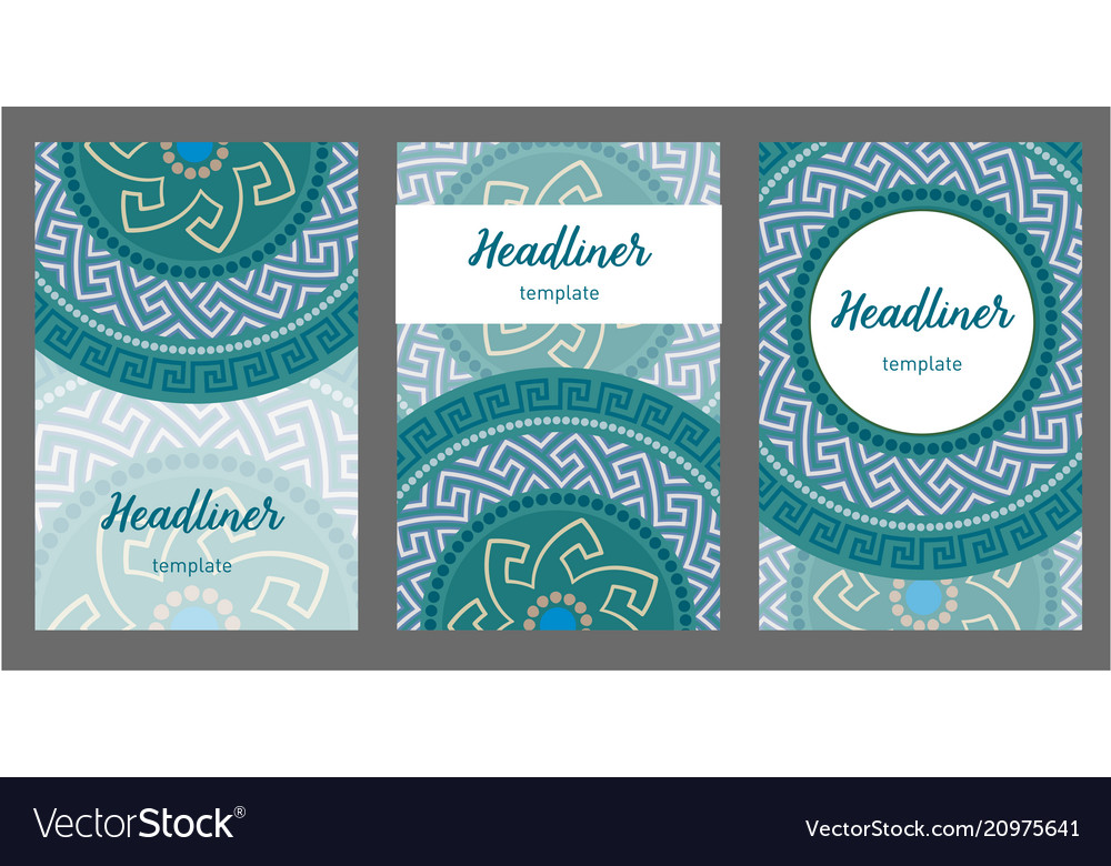 set of greek circular pattern flyer pages ornament vector image