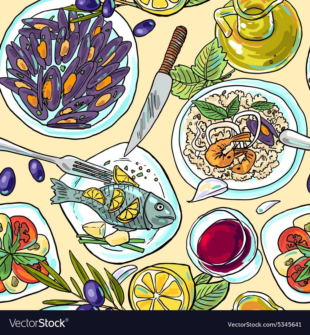 Simpless hand-draw pattern mediterranean food