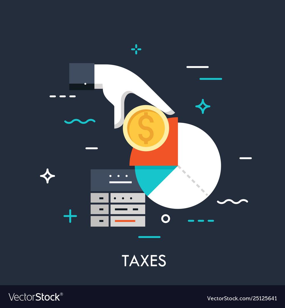 Taxes flat concept