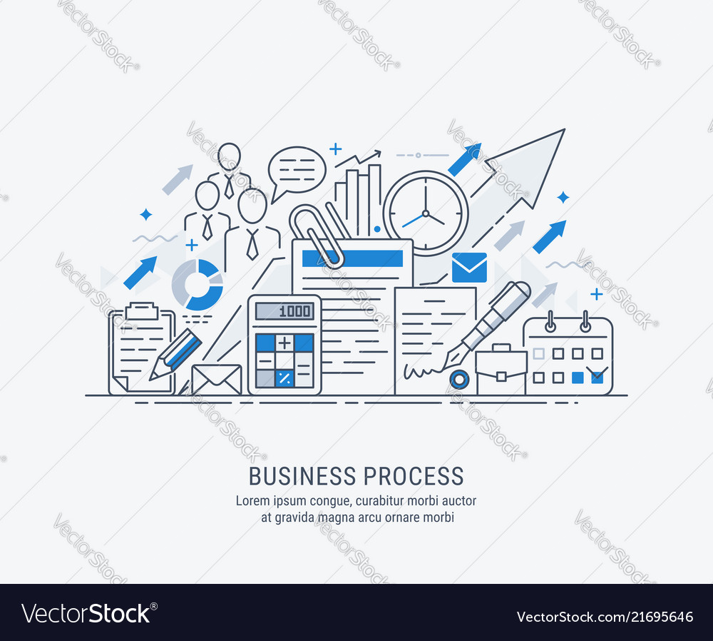 Flat line-art of business process