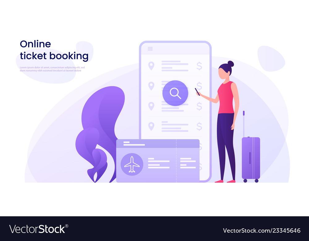 Flight tickets online booking concept