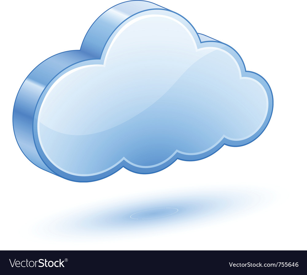 Glossy blue cloud with shadow vector image