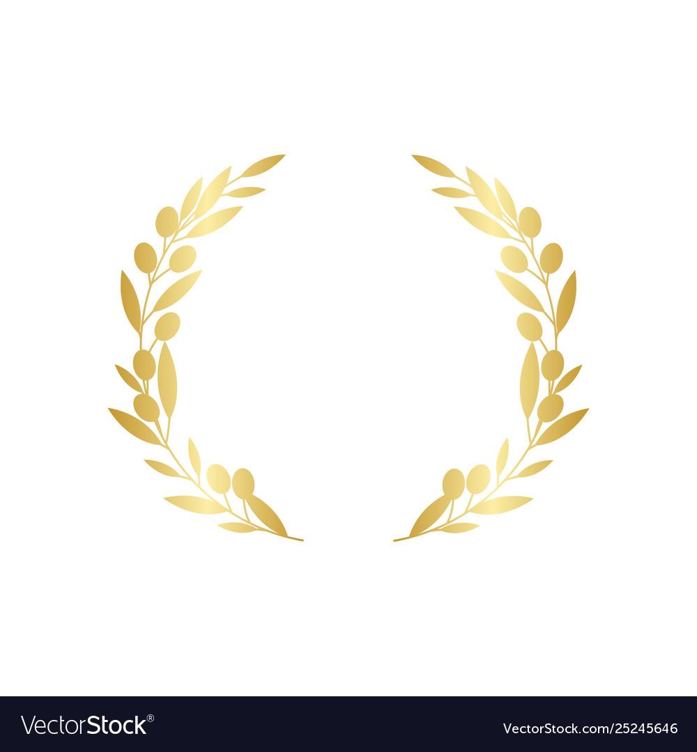 Golden circular olive greek wreath