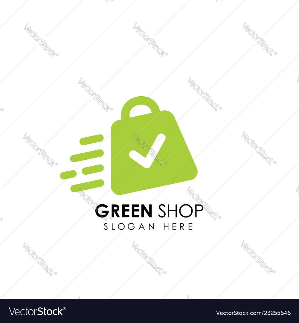 Green shop logo design template shopping bag icon