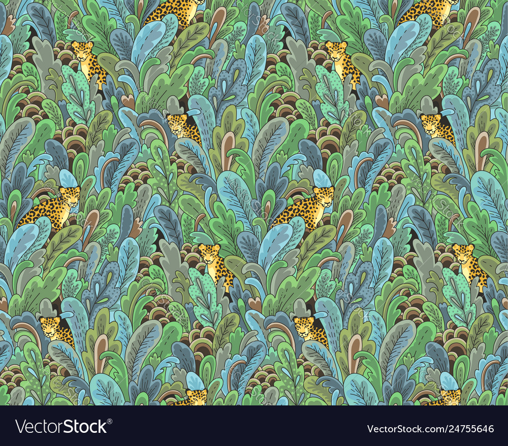 Leopards green plants