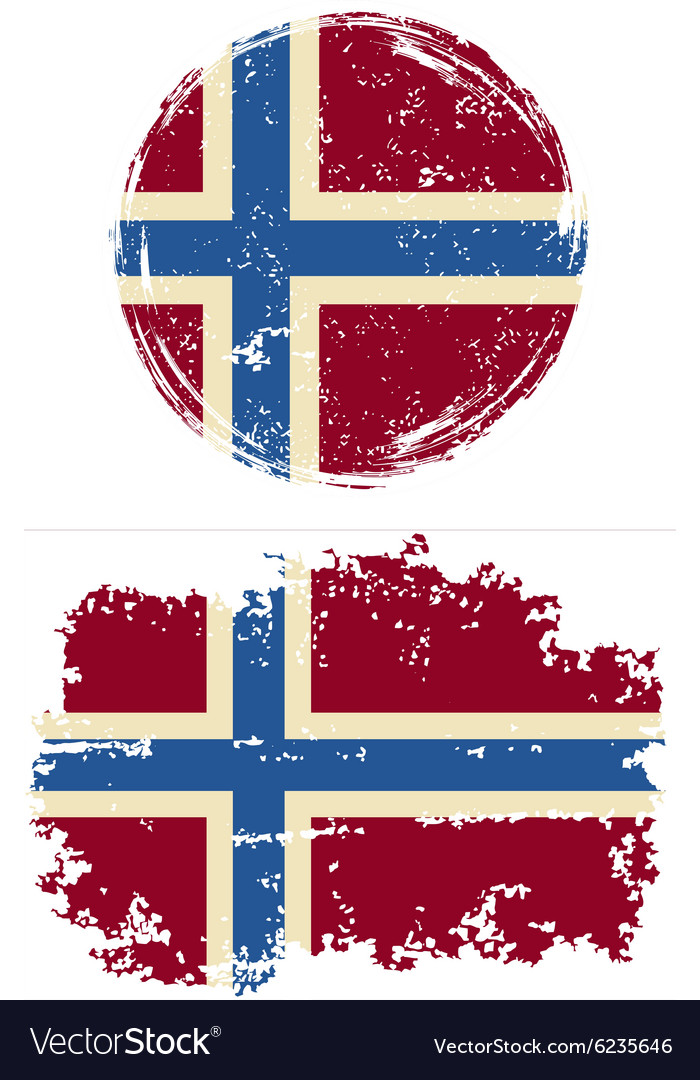 Norwegian round and square grunge flags