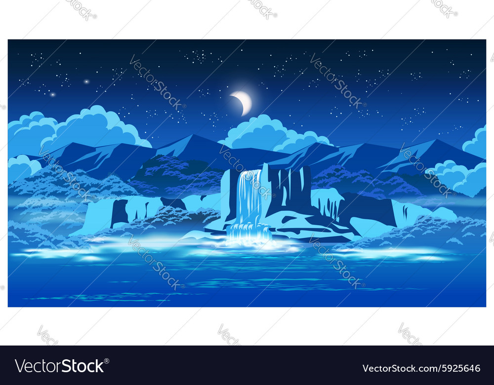 Picturesque waterfall at night