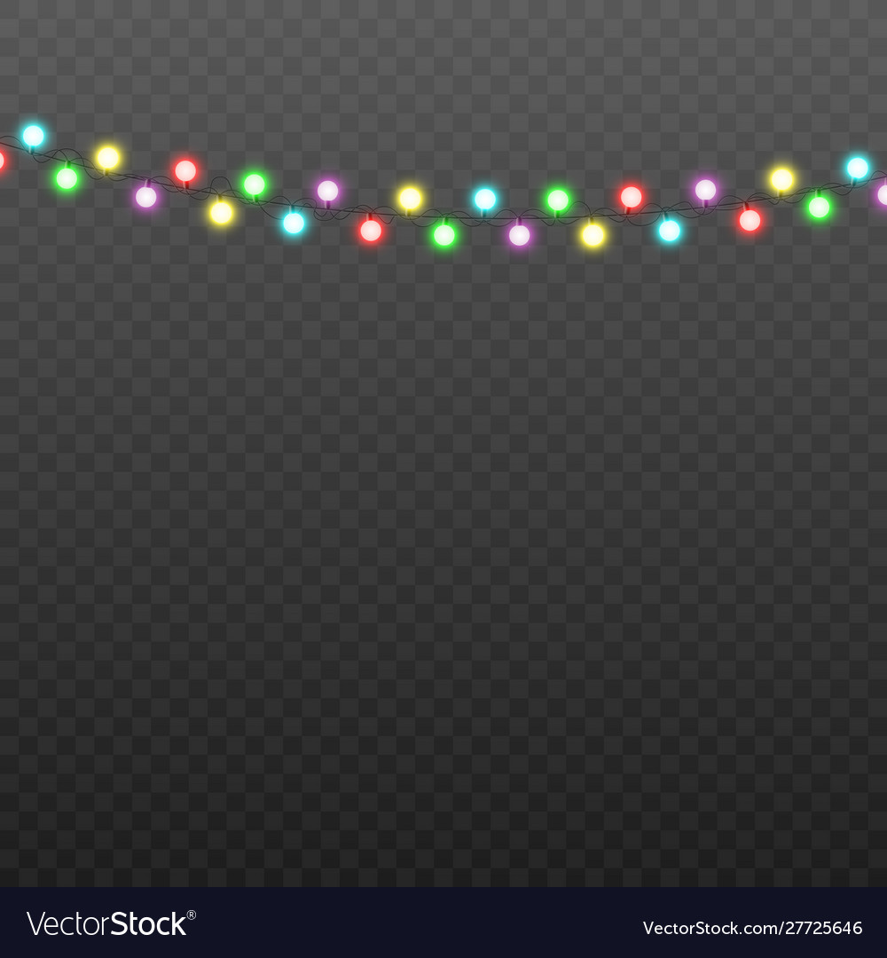 Realistic colorful christmas lights garland with