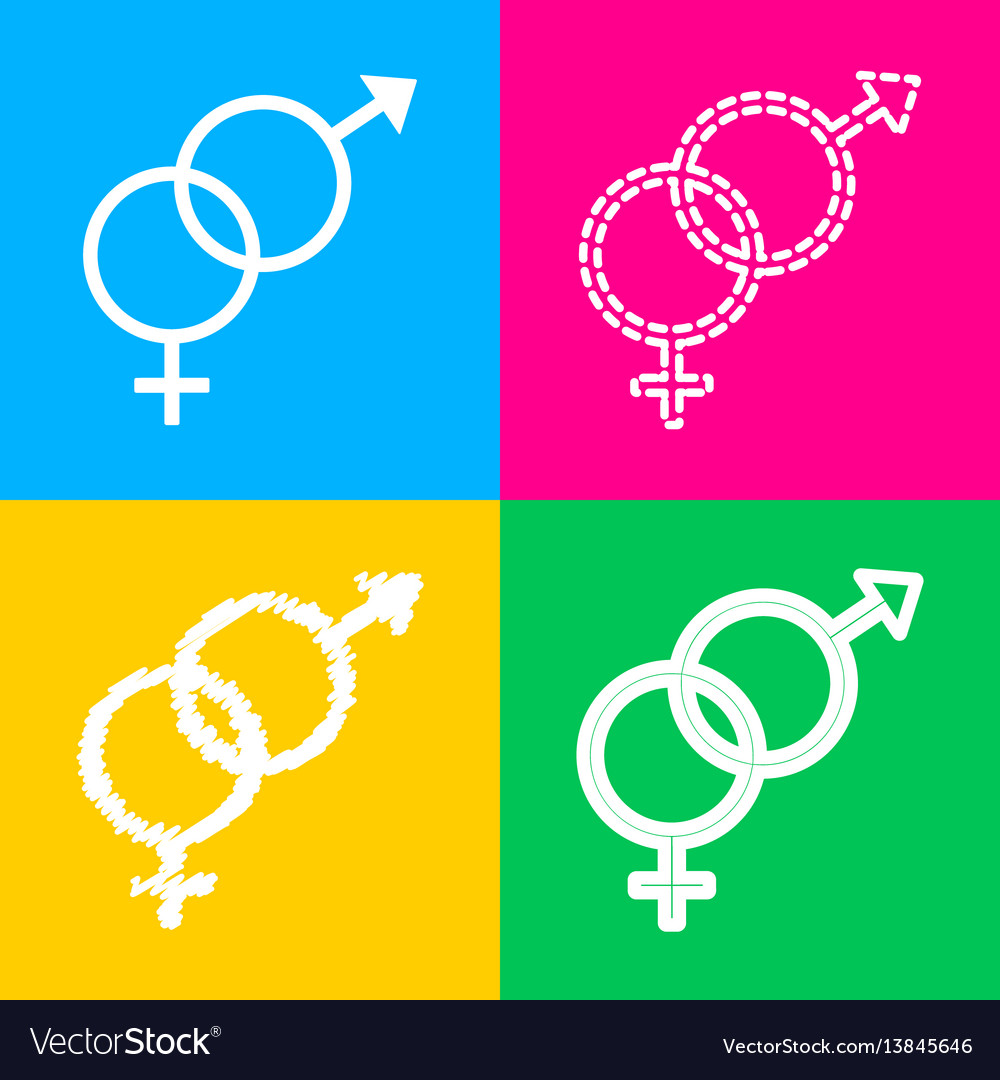 Sex symbol sign four styles of icon on four color