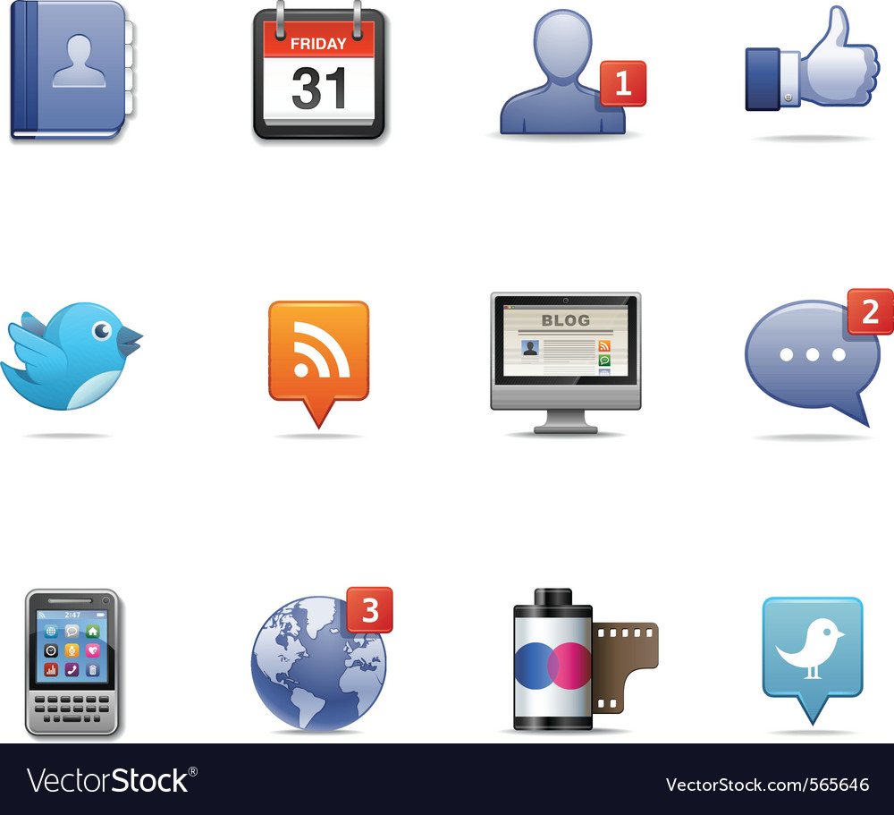 Social network pack vector image