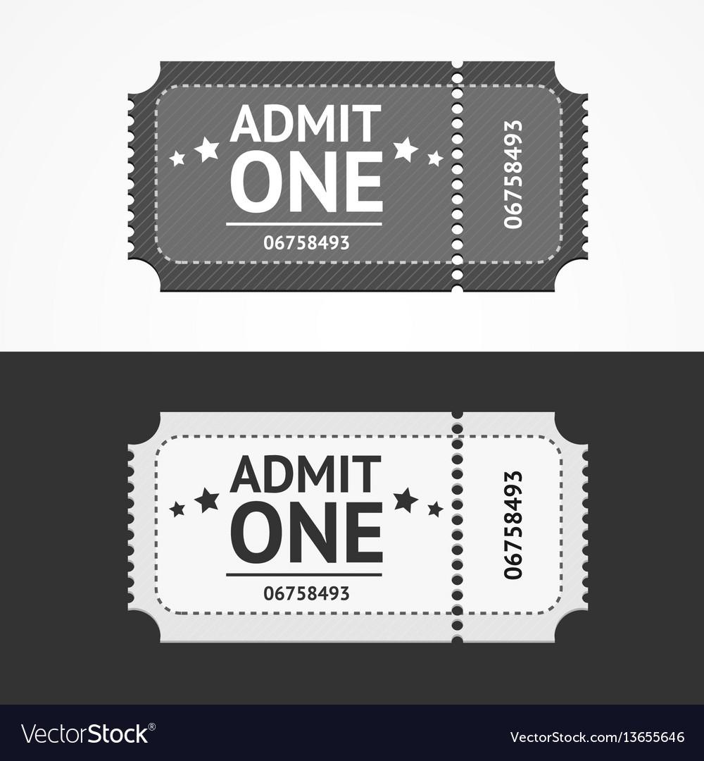 Ticket icon blank admit set vector image