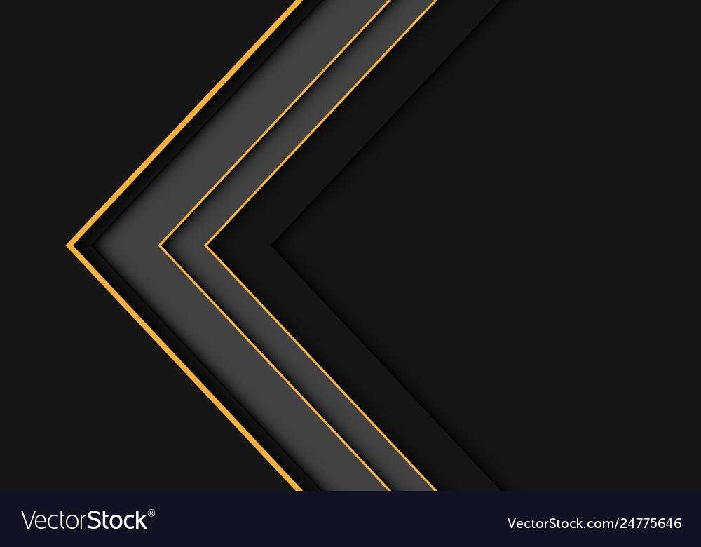 Yellow line grey arrow overlap on dark blank