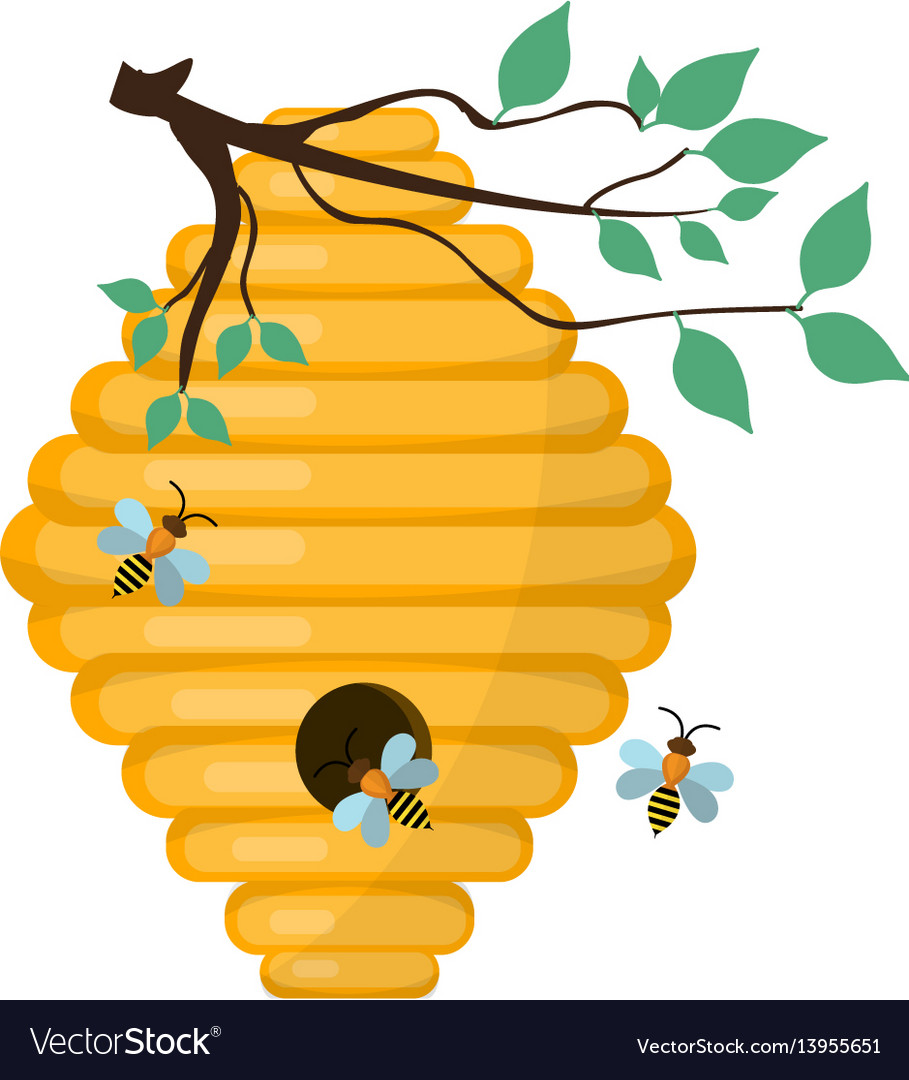 Bee-hive swarm icon flat style isolated on
