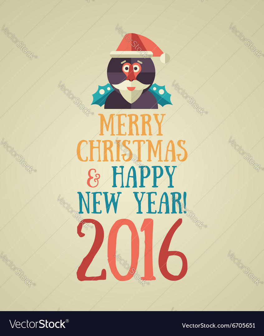 Christmas and Happy New Year 2016 Greeting Card