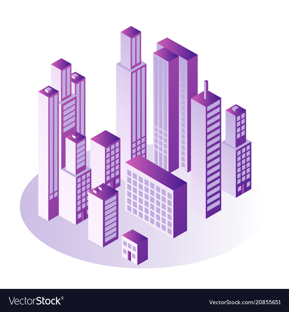 City isometric concept with multi storey office or
