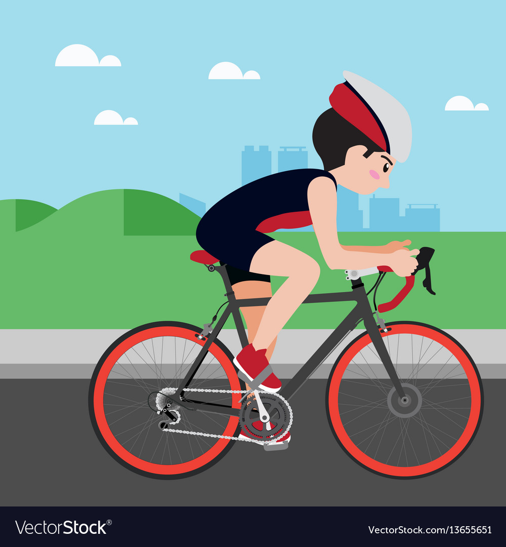 Cycling athletic sport cartoon set vector image