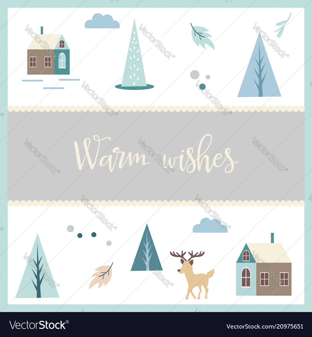 Greeting postcard in scandinavian style vector image