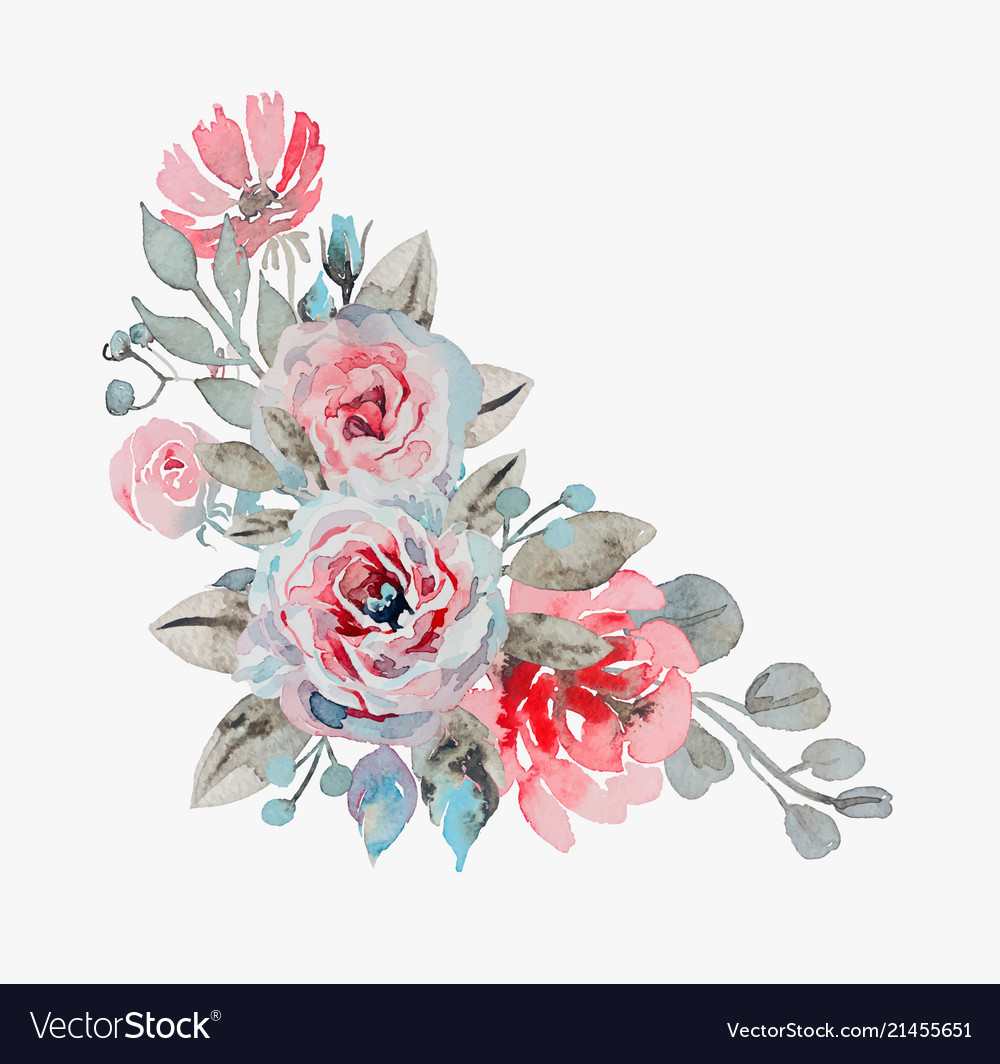 Handmade Watercolor Bouquet Of Flowers Rose Vector Image