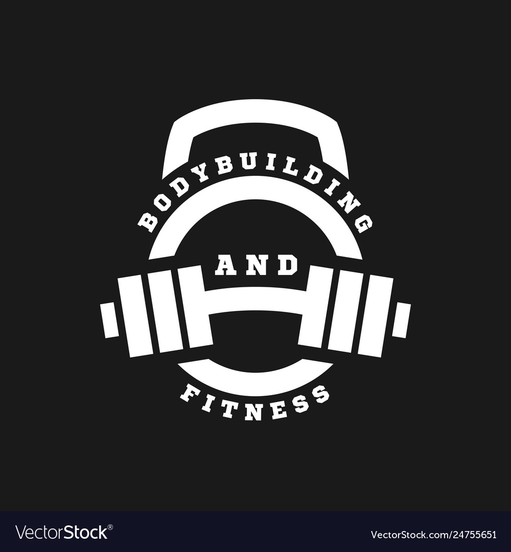 Linear logo bodybuilding and fitness on a dark