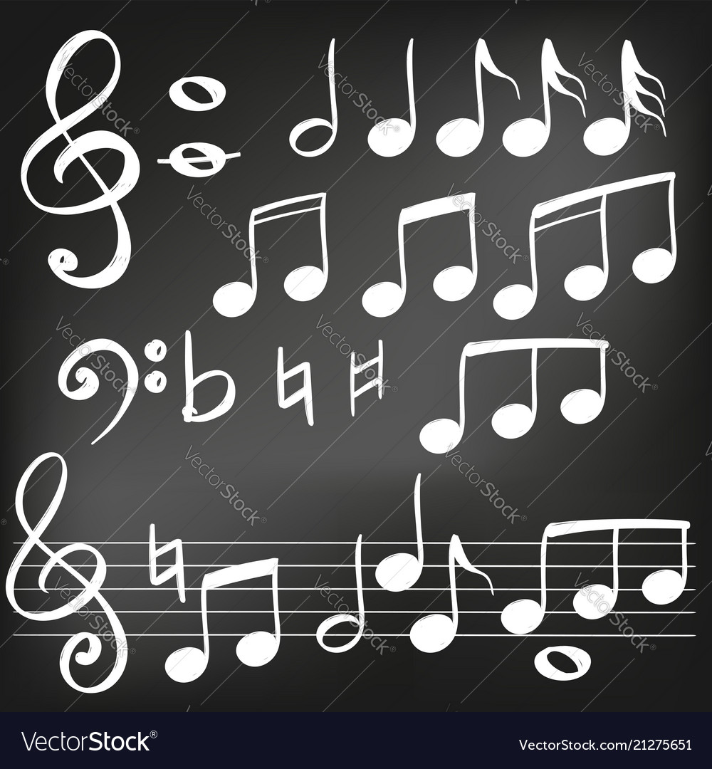 Music note icon hand drawn