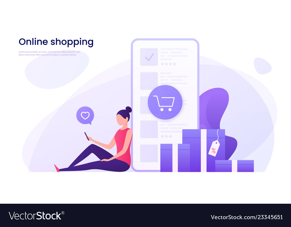 Online shopping mobile marketing concept