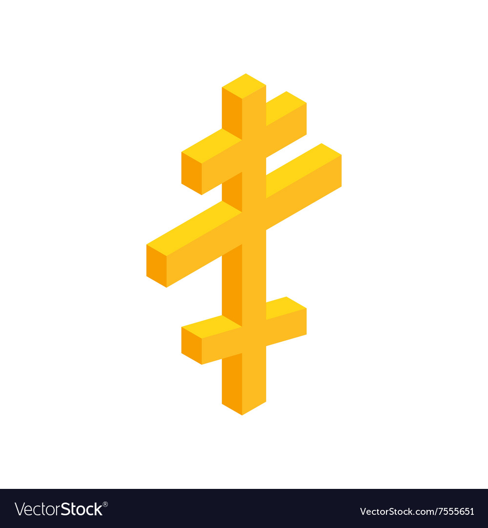 Orthodox cross isometric 3d icon