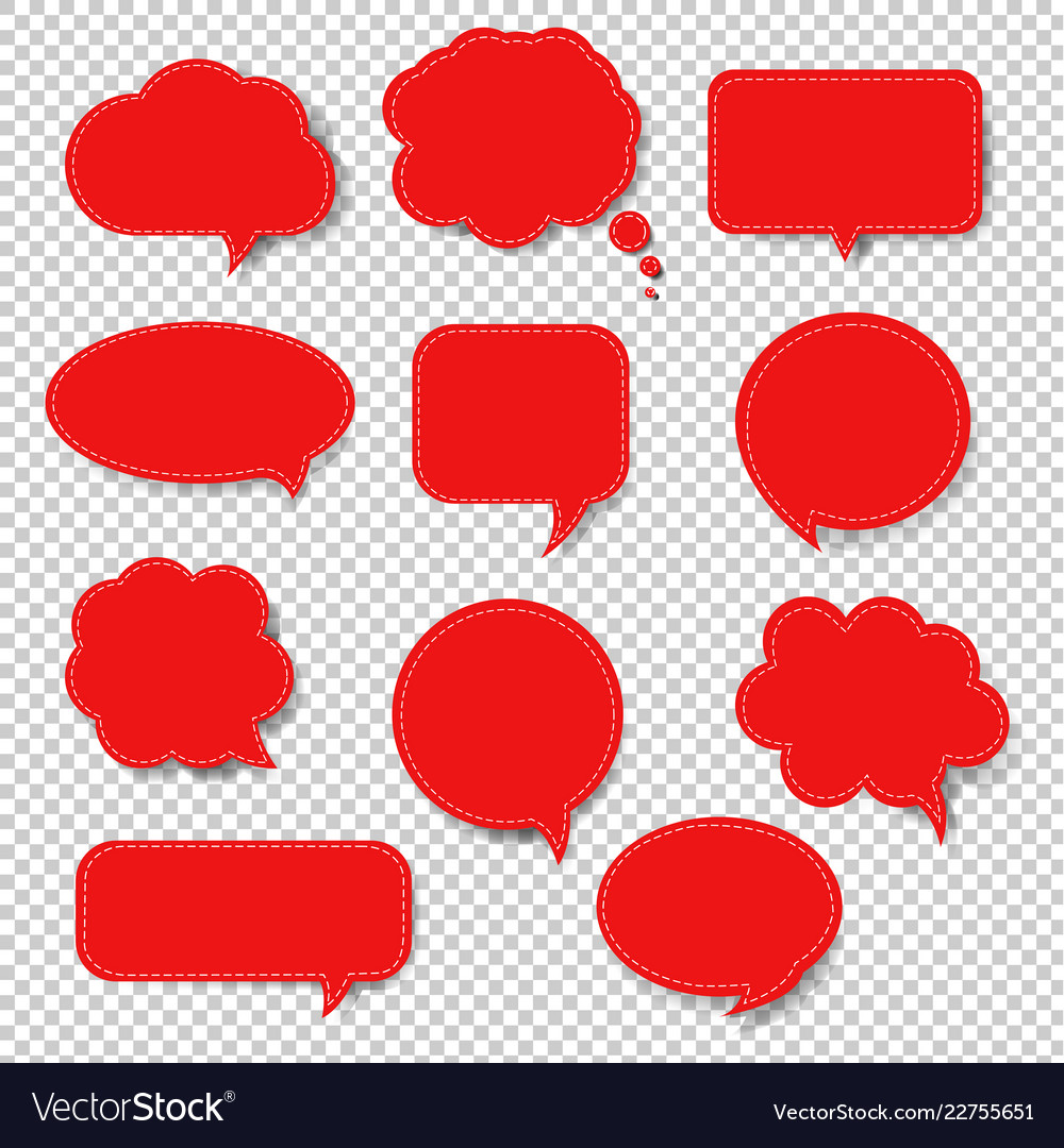 Red speech bubble set isolated transparent