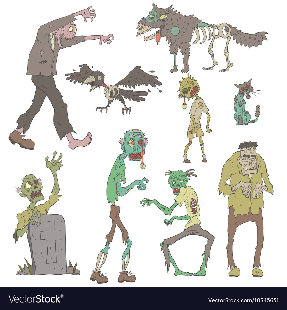 Scary Zombies Outlined Stickers