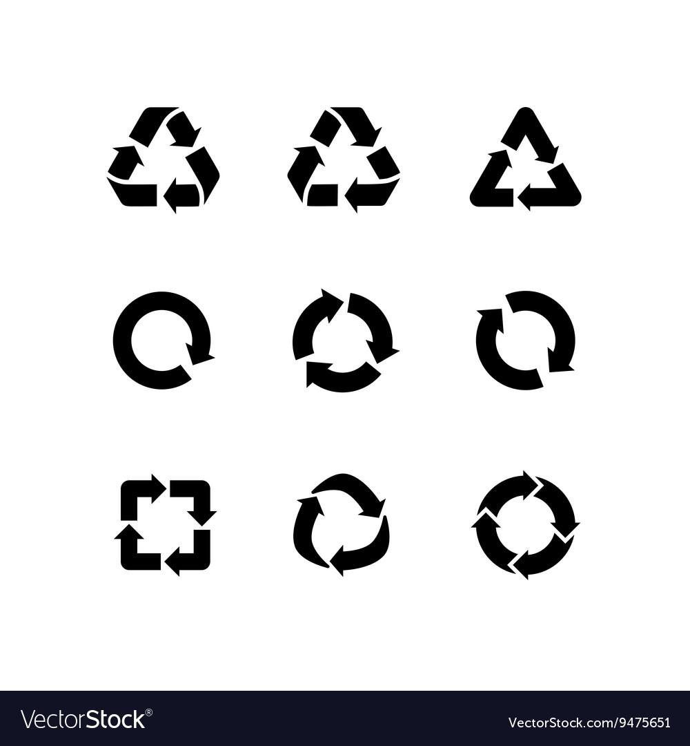 Set signs of recycling arrow icons