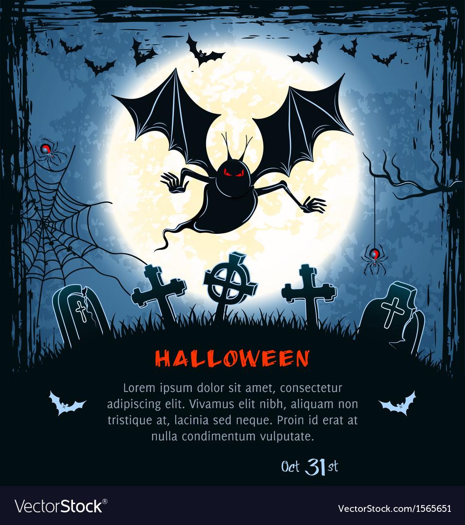 Nice Spooky Card For Halloween Vector Image