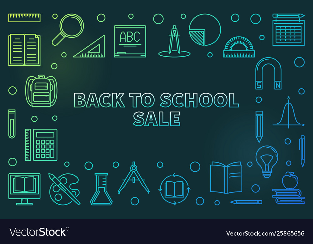 Back to school sale colorful linear
