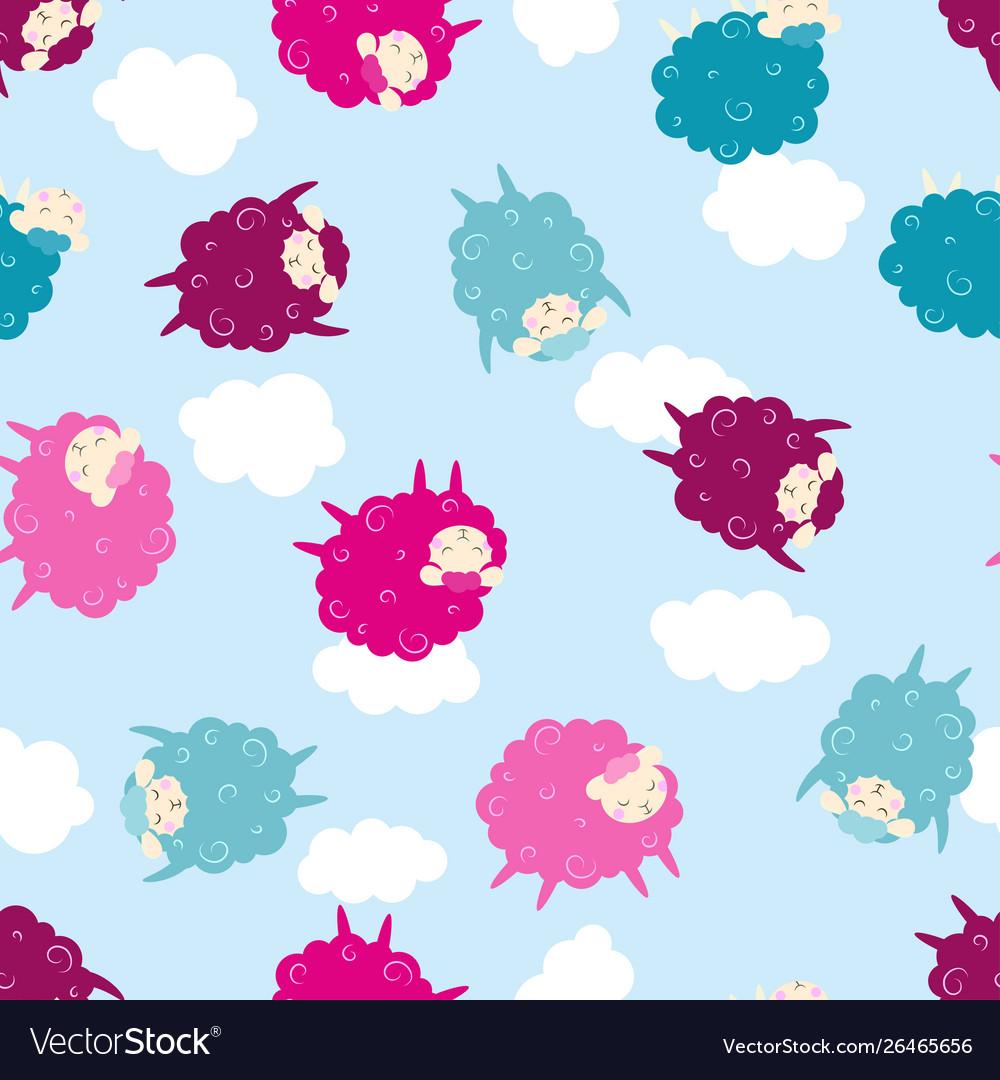 Cartoon sheep seamless pattern