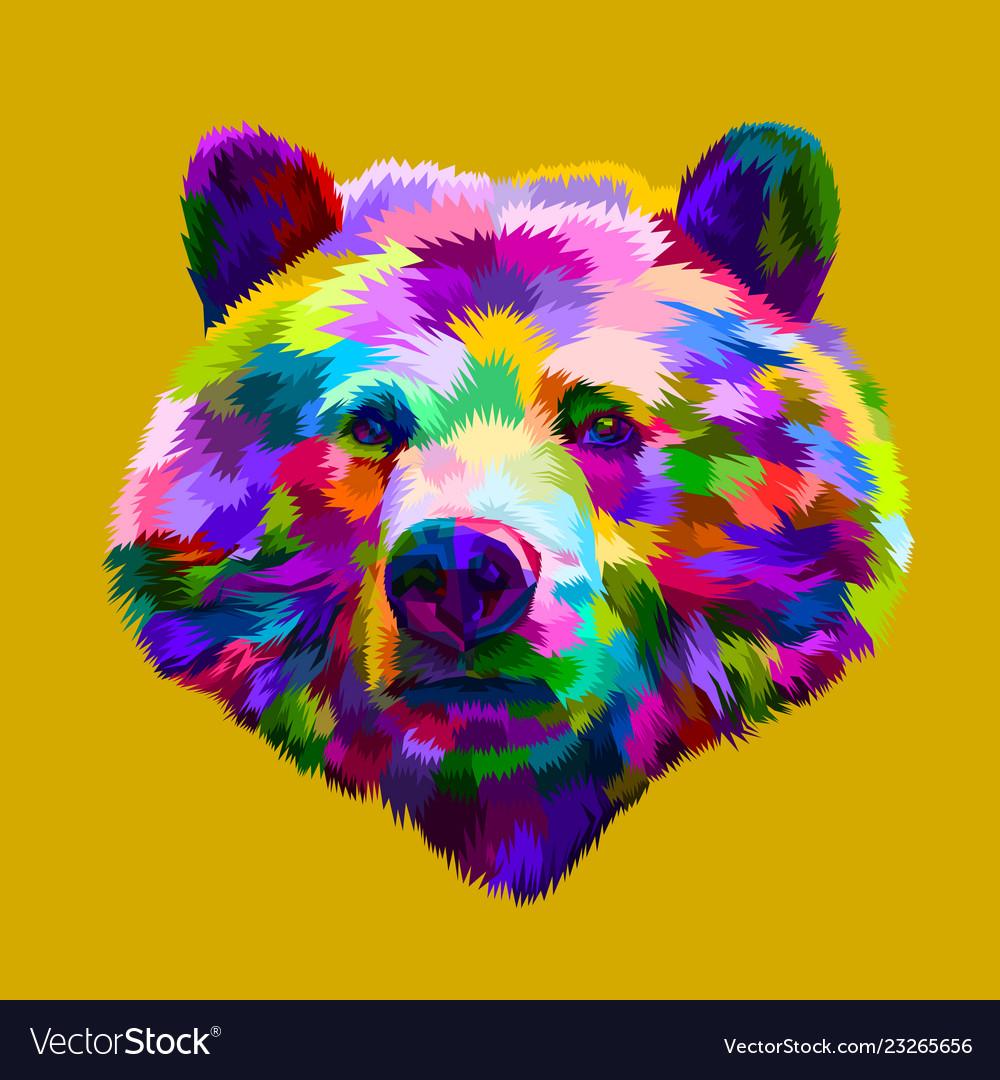 Colorful bear head on pop art style