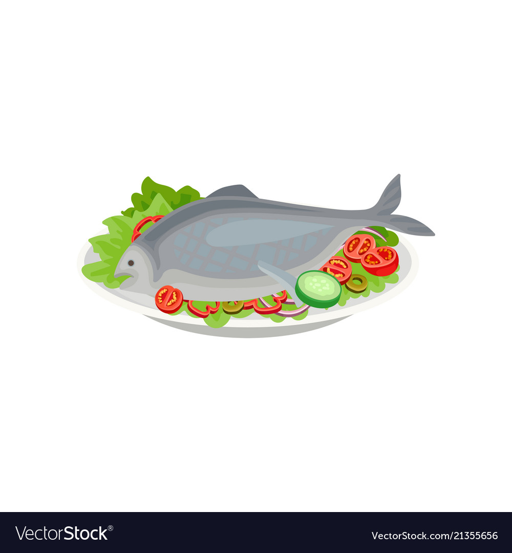 cooked fish with raw vegetables healthy nutrition vector image