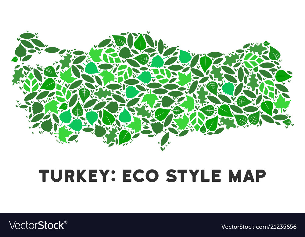 Ecology green collage turkey map