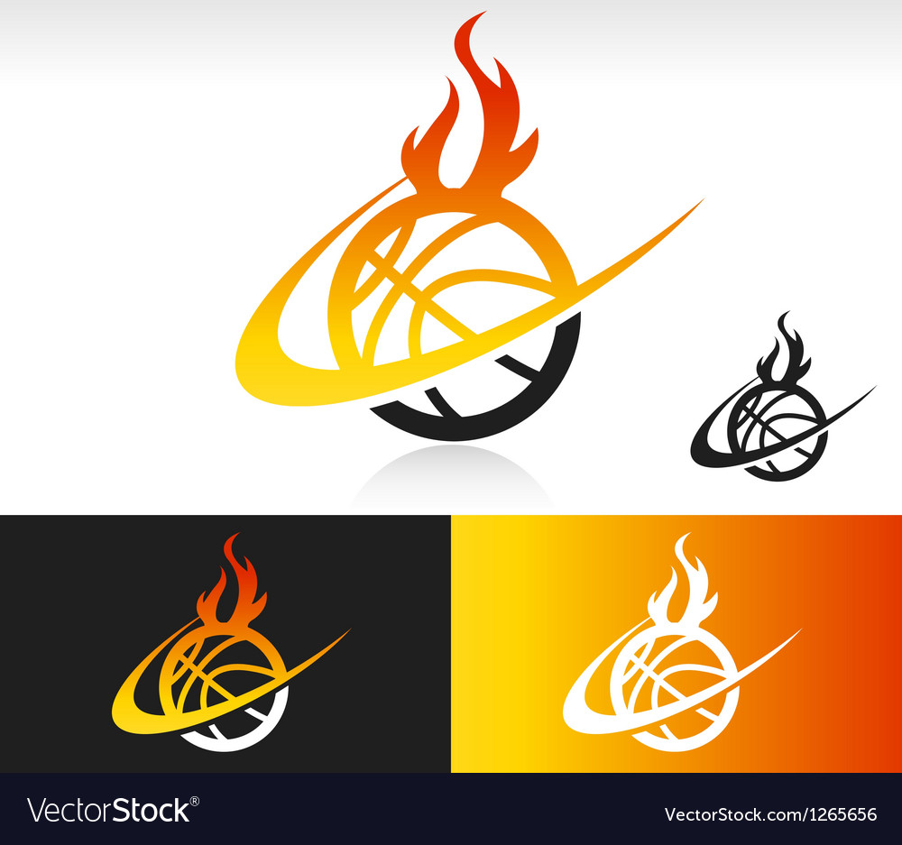 Fire Swoosh Basketball Logo Icon