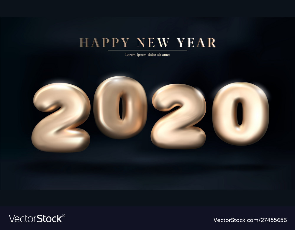 Gold 2020 numbers happy new year on a dark