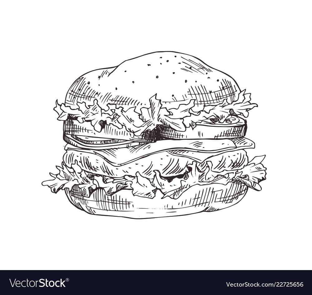 Hand drawn hamburger monochrome sketch