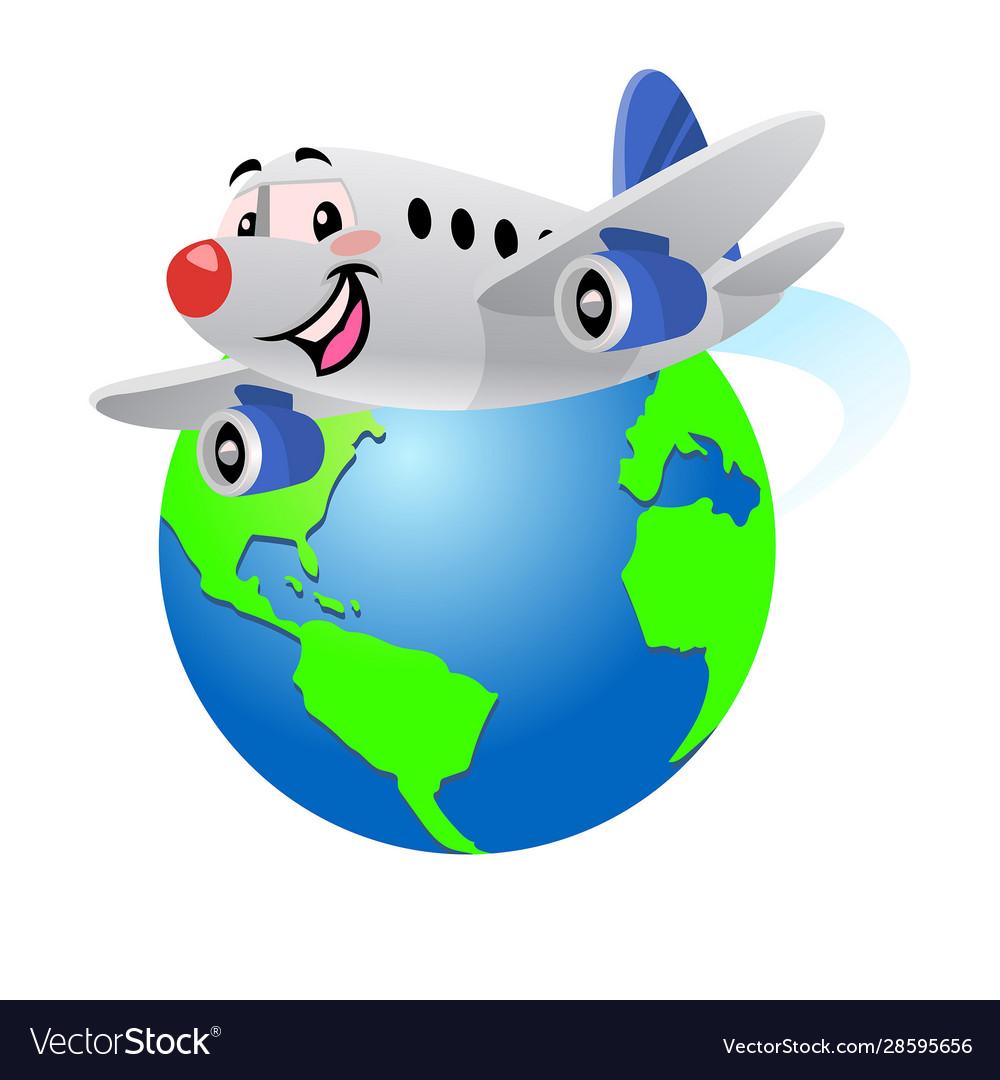 Happy cartoon airplane flying around globe