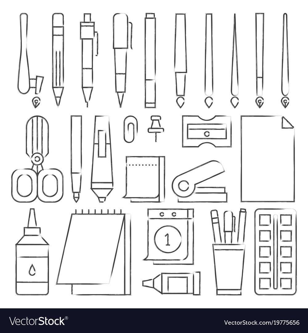 Line stationery icons set