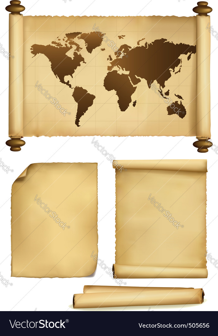 Old map and two old papers vector image