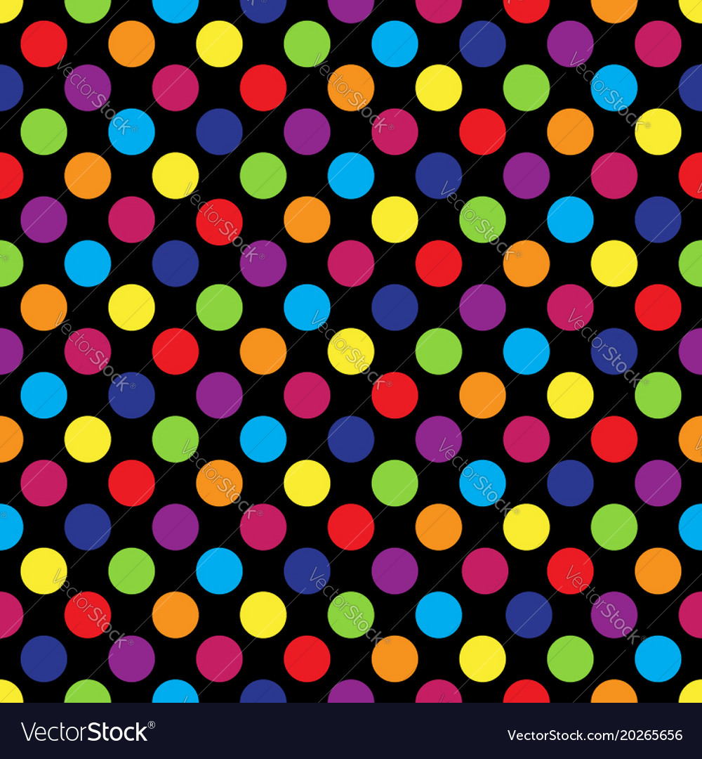 Seamless colorful polka dot pattern on black