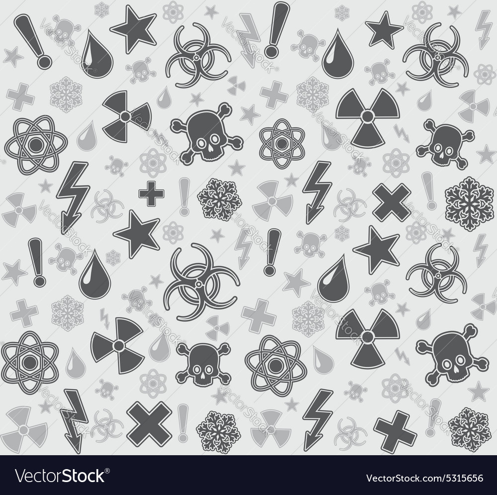 Seamless warning symbols pattern vector image