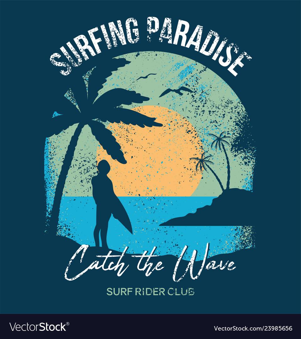 Surfer summer sunset print