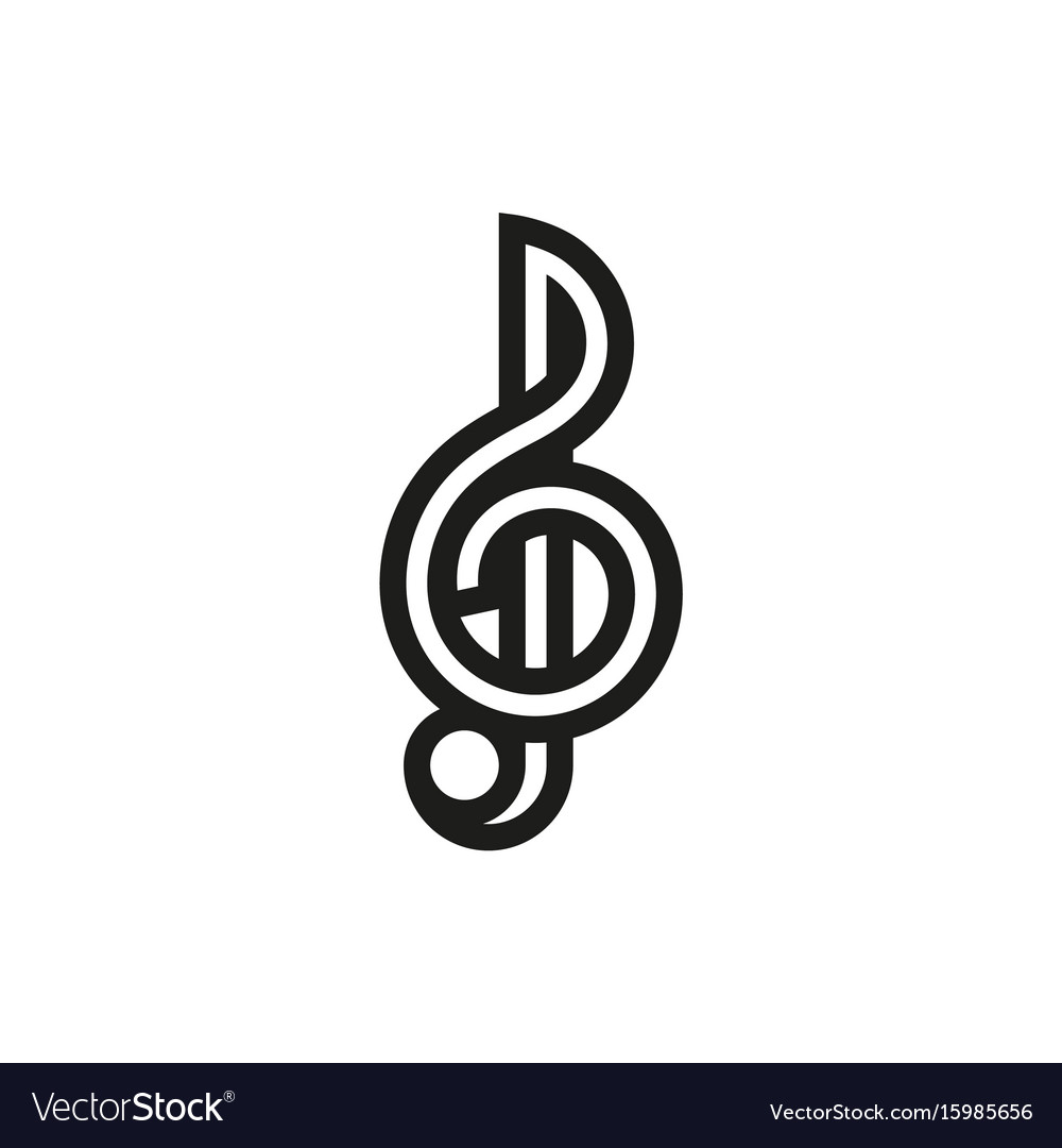 Treble clef icon on white background vector image